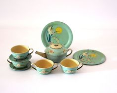 Fairies Tea Set 1930s  Ohio Art Tin Toy by GizmoandHooHa on Etsy, $95.00