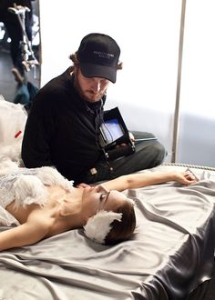 Darren Aronofsky and Natalie Portman on the set of Black Swan.