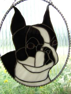 Boston Terrier Oval Stained Glass Piece by MeganInMontana on Etsy, $78.00