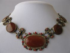 A huge Austro-Hungarian enamel and Carnelian necklace from the Victorian era.