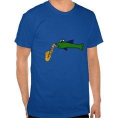 Fish Playing a Saxophone Shirt #fish #funny #music #shirt #saxophone And www.zazzle.com/naturesmiles*