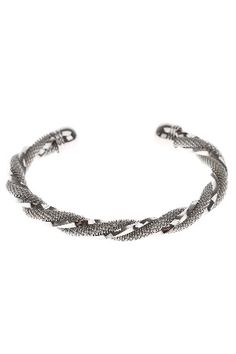 Silver & Co White Gold Plated Multi Texture Bangle
