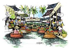 Jim Richards interview featured on Wanderarti.com Thailand Art, Thailand Travel, James Richards, Watercolor Architecture, Architecture Design, City Sketch, Thai Art, Urban Sketchers, Watercolor Sketch