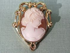 Uncas Gold Filled Cameo Pin Pendant by COBAYLEY on Etsy,