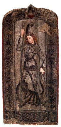 Ziersetzschild oder Pavese mit der Darstellung des hl. Georg, 2. Hälfte 15. Jhdt. (Fotos: Institut für Realienkunde des Mittelalters und der frühen Neuzeit, Peter Böttcher)