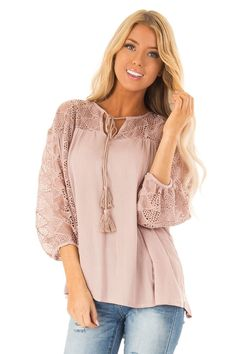 7b3cbe84061c4 Mauve 3 4 Sleeve Flowy top with Tassel Tie and Lace Yolk