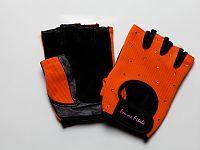 orange and black weightlifting gloves