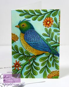 "6"" x 4"" Card from the Colorista Card Making Kits. Colored with Spectrum Noir Colorista Markers (Nectarine, Lemon, Canary, Gold, Pear Green, Daffodil, Forest Green, Leaf Green, Cerulean, Denim, Pistachio, Cyan, Maple, Cobalt) and Spectrum Noir Blendable Colored Pencils (026, 011, 015, 017, 021, 044, 047, 050, 054, 062, 063, 104, 118) Designed by Lori Barnett #SpectrumNoir #SpectrumNoirColorista #CraftersCompanion #AdultColoring"
