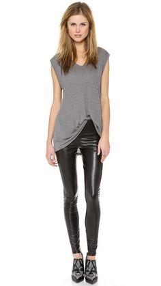 Workout wear passable for street wear. Grey top & black Sleek Leggings