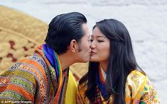 The King then broke with tradition by giving his new wife a kiss on the lips. Couples don't normally show affection in public in Bhutan, but the King has always been open about his love for his wife