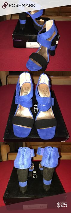 Retro BCBG Heels 7M like new Perfect condition. Retro BCBG Heels 7M like new. Cobalt blue & black suede. Comes with original box! Round stacked heels! Yeah babeeee BCBG Shoes Platforms
