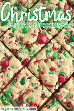 Santa's Cookie Bars are perfect for Christmas Eve on the cookie plate! A soft, thick, and chewy peanut butter cookie bar loaded with oats, chocolate, peanut butter m&m's, and festive red and green sprinkles.