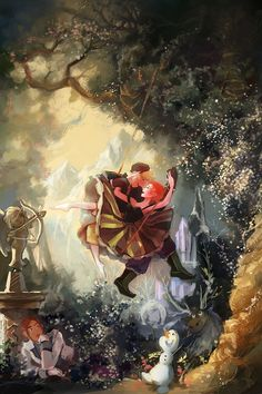 Frozen art concept - Kristoff and Anna on the swing So cute, and Rococo Art is adorable :D<--Oh my gosh, is Elsa the statue? Disney Pixar, Disney Fan Art, Disney And Dreamworks, Disney Frozen, Disney And More, Disney Love, Disney Magic, Frozen Art, Anna Frozen