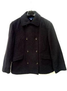 J CREW Black Mens Wool Classic Style Peacoat Jacket Coat Size M #JCrew #Peacoat