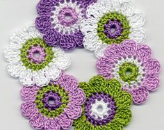 You will receive 15 pcs of crochet flowers. Color - white / inch Handmade in a quality cotton yarn. Crochet Flower Patterns, Flower Applique, Crochet Flowers, Cute Crochet, Easy Crochet, Floral Motif, Crochet Earrings, Handmade Gifts, Arts And Crafts