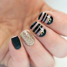 cool Black & Gold Negative Space Nails - Paulina's Passions