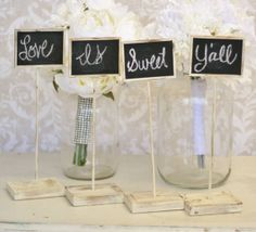 Rustic Chalkboard Signs Shabby Chic Wedding Decor by braggingbags, $39.99  #Great for candy bar!