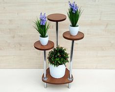 """Indoor plant stand """"Orleans Planter Indoor planters Wood plant stand Mid century Modern Plant stand Home decor Modern planter - Modern Tall Plant Stands, Modern Plant Stand, Wooden Plant Stands, Modern Planters, Indoor Planters, Tiered Plant Stand Indoor, Corner Plant, Mid Century Modern Table, Flowers"""