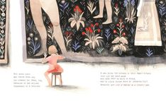 Illustration by Isabelle Arsenault from 'Cloth Lullaby: The Woven Life of Louise Bourgeois' by Amy Novesky and Isabelle Arsenault, 2016 Louise Bourgeois, Book Design Layout, Design Design, Graphic Design, Fabric Pictures, Isabelle, Children's Book Illustration, Illustrations And Posters, Cute Drawings