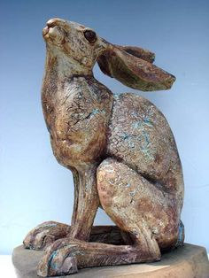 Ceramics by Celia Allen at Studiopottery.co.uk - 2012. Seated Hare, 50cm high, 31cm long, inc base. Stoneware