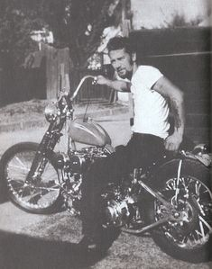 Sonny Barger aboard his 80-inch Harley stroker with high bars and long tailpipies, 1959. This bike design was considered pretty progressive for it's time.