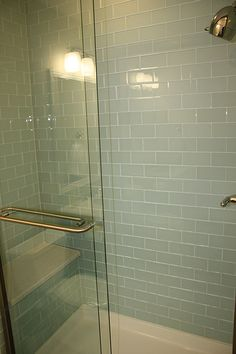 Subway+Tile+Bathroom | Glass subway tile shower