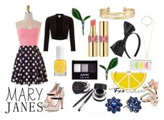 """""""Lemon Twist"""" by i-love-tennis ❤ liked on Polyvore featuring RED Valentino, Jessica McClintock, EAST, Yves Saint Laurent, NYX, Stella & Dot, Accessorize, Miss Selfridge, Lipsy and Nina"""