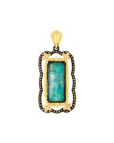 Old World Malachite Doublet Enhancer w/ Champagne Diamonds