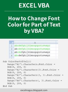 If you need to differentiate some parts of text in an Excel cell, this VBA code can be done using formatting those characters. Microsoft Excel, Microsoft Office, Vba Excel, I Need A Job, Pivot Table, Thing 1, Data Analytics, Computer Programming, Geek Chic