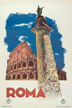 """Roma"" c1930 26 inches x 39 inches""  ref #Enit Roma Column"