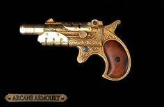 Steampunk Derringer pistol by ArcaneArmoury on Etsy (prop gun, non-firing)
