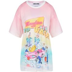 Moschino Short Sleeve T-Shirts ($235) ❤ liked on Polyvore featuring tops, t-shirts, pink, jersey cotton t shirts, logo tee, jersey top, short sleeve tops and jersey tee