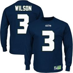 Mens Seattle Seahawks Russell Wilson Navy Blue Eligible Receiver II Long  Sleeve T-Shirt Russell 04075fbbd