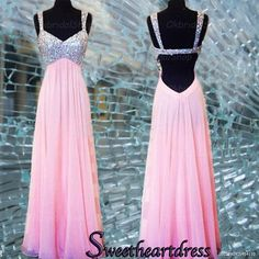 Sparkly straps prom dress, open back pink chiffon prom dress for teen