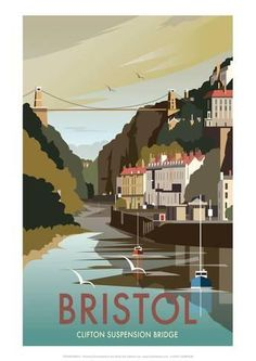 This Bristol Art Print is created using state of the art, industry leading Digital printers. A stunning Art Print featuring the design of Clifton Suspension Bridge over the River Avon, Bristol. Poster Retro, All Poster, Poster Prints, Art Prints, Illustrations Vintage, Illustrations And Posters, Bristol England, Tourism Poster, Railway Posters