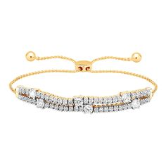 10k Yellow Gold 2 Row Prong Set Diamond Tennis Adjustable Bolo Bracelet - 2 Ct #CaratsForYou #Tennis