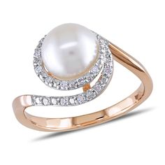Shop for Miadora Rose Gold Cultured Freshwater Pearl and TDW Diamond Ring (H-I, mm). Get free delivery On EVERYTHING* Overstock - Your Online Jewelry Destination! Gold Pearl Ring, White Diamond Ring, Diamond Cuts, Pearl Rings, Rose Gold Jewelry, Pearl Jewelry, Beaded Jewelry, Jewellery, Gold Fashion