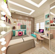 Teen bedroom themes must accommodate visual and function. Here are tips to create the coolest teen bedroom. Small Bedroom Designs, Small Room Bedroom, Small Rooms, Room Decor Bedroom, Bedroom Modern, Bedroom Furniture, Design Bedroom, Bed Room, Modern Teen Bedrooms