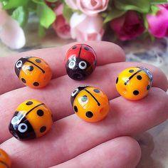 Handmade Lampwork Glass Ladybug (1 pc) Yellow Orange Black 12-13 mm x 11-12 mm