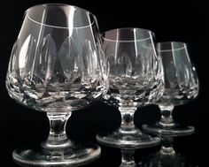 This listing is for a set of three mid century diamond-cut lead crystal cognac glasses. The glasses are very heavy and made of 24% Lead Crystal.  Manufactured in West Germany.  Height: 90 mm (3.54) Diameter at the top: 50 mm (1.97)  Weight (3 glasses): ca. 410 g (0.90 lb)  In very good vintage condition - no chips or cracks. Please take a moment to analyze the pictures for more details.   ******************************************************************************  Please check the shop…