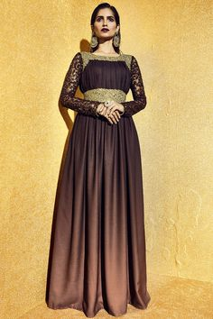 #Brown Flaunting Moss Heavy Zari #Embroidery Floor Length #SalwarSuit‬ at Lalgulal.com To Order :- http://goo.gl/bBXGSD To Order you Call or Whatsapp us on +91-95121-50402 COD & Free Shipping Available only in India.