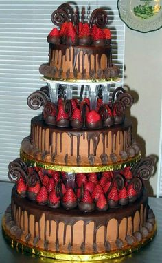 Wedding cake and chocolate covered strawberries