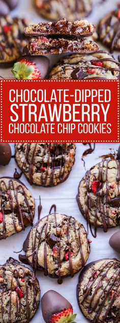 Chocolate-Dipped Strawberry Chocolate Chip Cookies: Soft + chewy cookies full of freeze dried strawberries and chocolate chunks, dipped and drizzled with dark chocolate. Strawberry Cookies, Strawberry Dip, Strawberry Recipes, Strawberry Shortcake, Freeze Dried Strawberries, Chocolate Dipped Strawberries, Chocolate Chips, Chocolate Chip Cookies, Chocolate Desserts