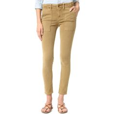 THE GREAT. The Skinny Armies (17,960 INR) ❤ liked on Polyvore featuring pants, brown stretch pants, skinny trousers, slim pants, brown slim pants and skinny leg pants
