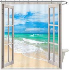Beach Window Shower Curtain 145R