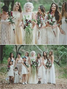 boho bridesmaid dresses #bridesmaids #vintagedresses #weddingchicks http://www.weddingchicks.com/2014/02/03/malibu-forest-diy-wedding/