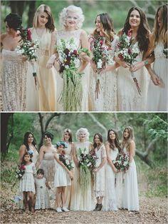 boho bridesmaid dresses #bridesmaids #vintagedresses #weddingchicks http://www.weddingchicks.com/2014/02/03/malibu-forest-diy-wedding/