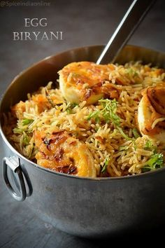 Egg Biryani – Easy Egg Biryani Recipe — Spiceindiaonline Egg Biryani – namma veetla we call it mutta 😉 biryani. There is already a version of egg biryani which i posted earlier and this one is a little closer to me, … Egg Recipes Indian, Indian Dishes, Easy Indian Vegetarian Recipes, Easy Veg Recipes, Indian Chicken Recipes, Arabic Recipes, Vegetarian Keto, Easy Meals, Cooking Recipes