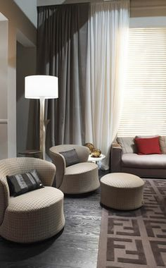 Fendi Casa, FF CASA Tait amchairs with pouf and Polygones floor lamp