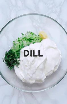 Best Tzatziki Recipe, Tzatziki Recipes, Greek Yogurt Sauce, Greek Yogurt Recipes, Tzatziki Sauce Recipe Greek Yogurt, Vegetarian Recipes, Cooking Recipes, Healthy Recipes, Salads